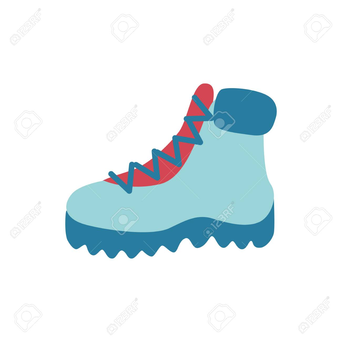 Vector flat boots icon. Hiking, casual walking travelling shoes for cold weather season - winter or autumn. Male, female footwear for active leisure, outdoor sport activity - 113744716