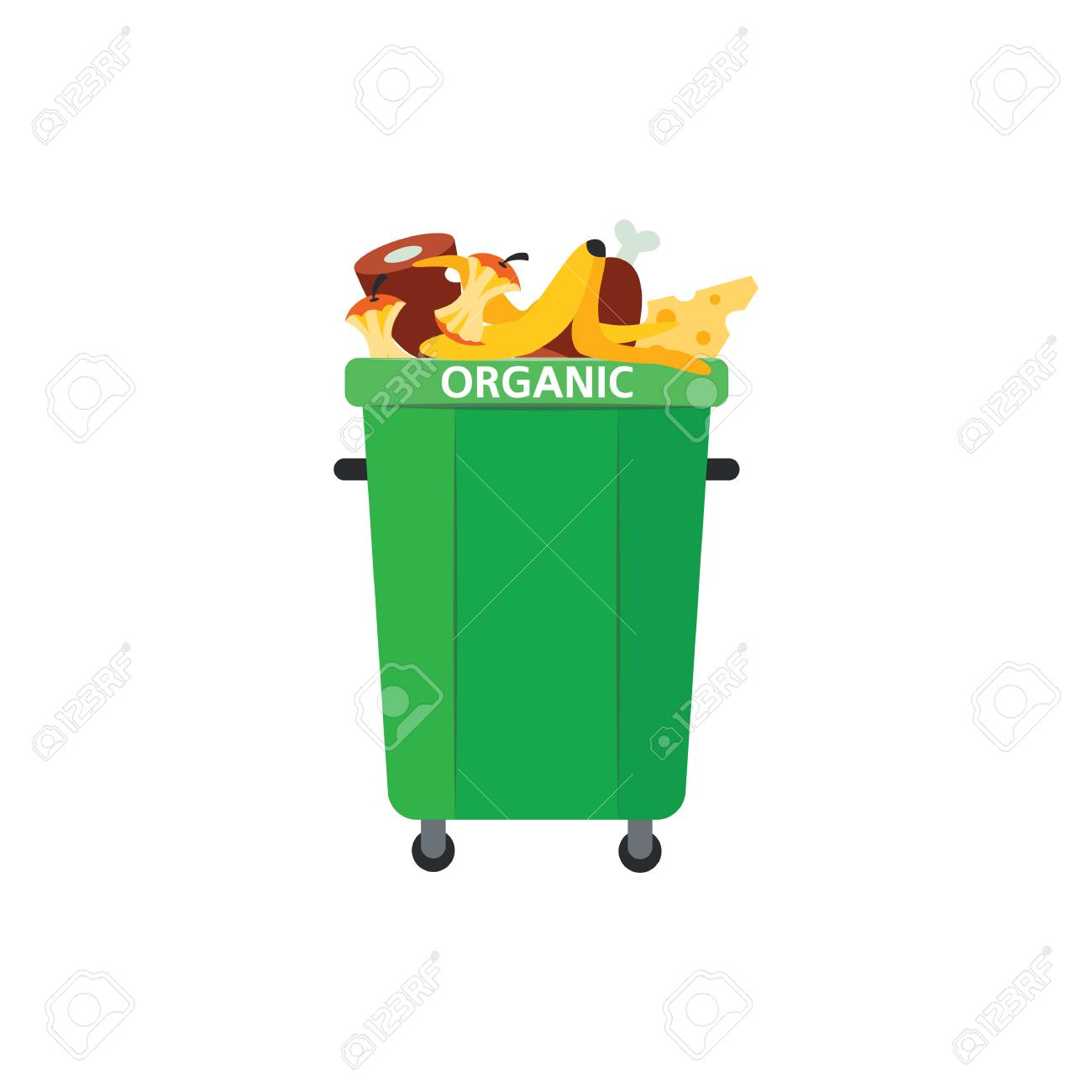 Recycle trash bin for organic garbage in flat style isolated on white background. Vector illustration of green full of food waste for separating and sorting rubbish concept. - 113886953
