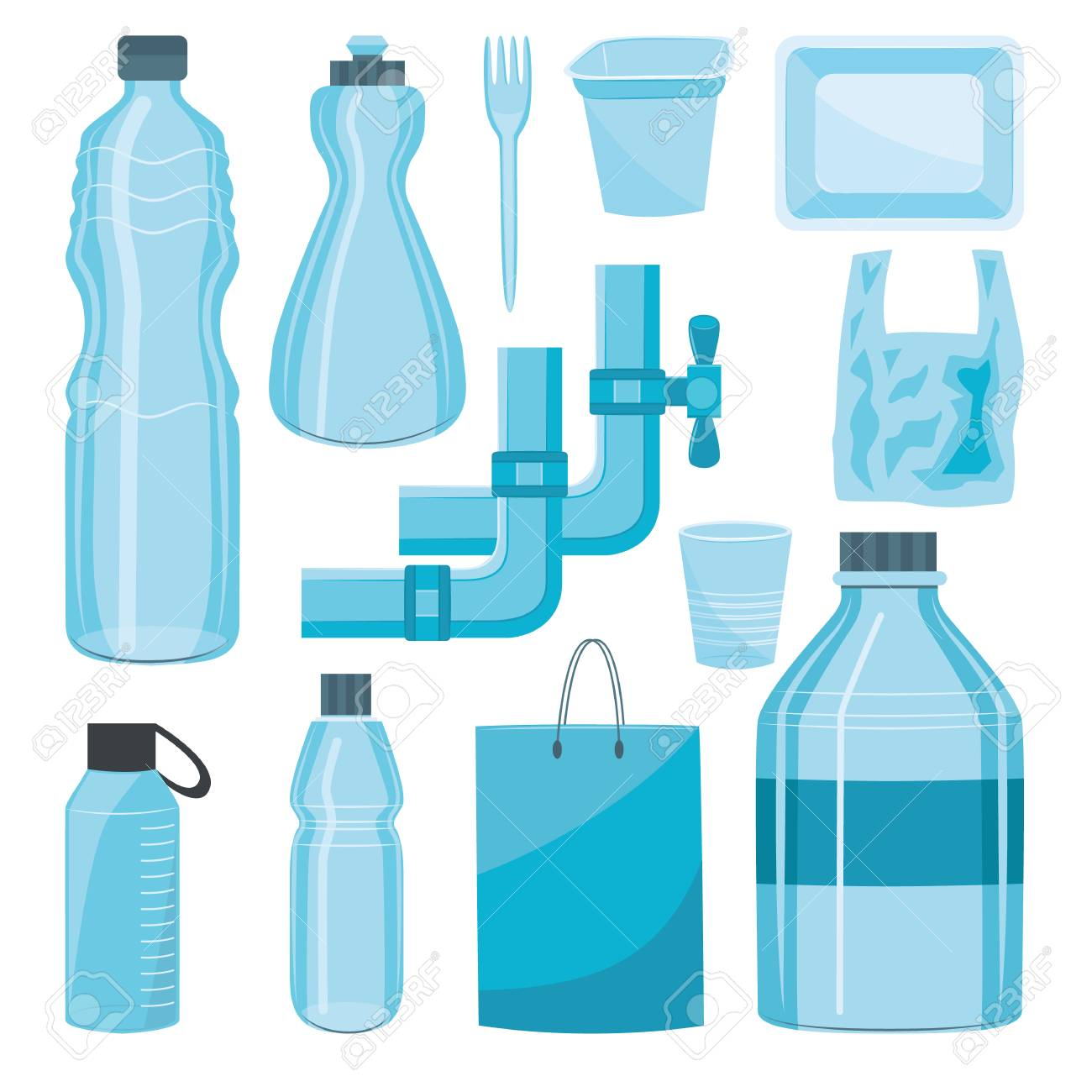 Vector plastics types product set. Water pipe, water and detergents bottles, shopping bags food packages and disposable cutlery, cup. Isolated illustration - 113886969