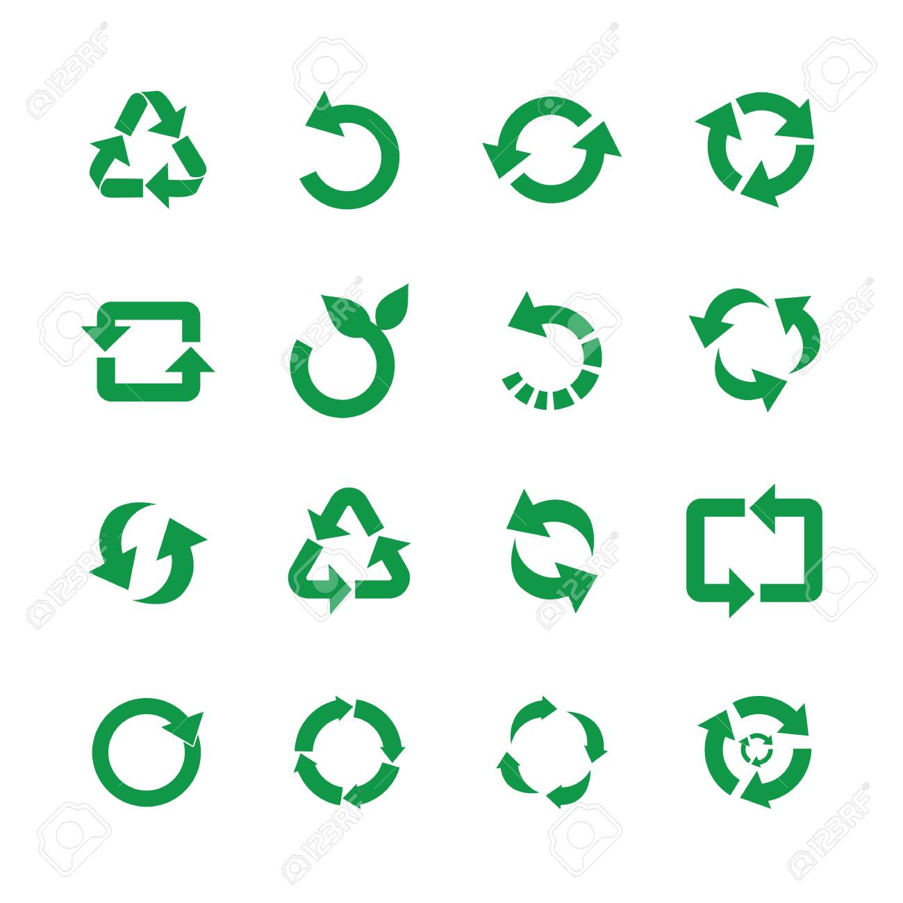 Zero waste and reuse symbols vector illustration set with various simple flat green signs of recycle with arrows in different forms for eco friendly materials and environmental protection concept. - 113886979