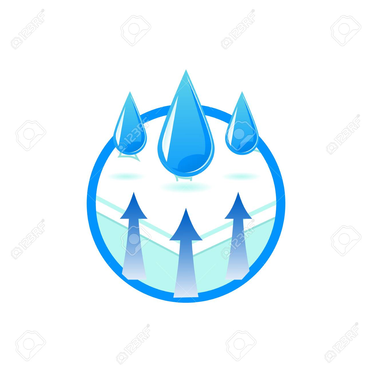 Breathable and waterproof fabric technology symbol in flat style - isolated vector illustration of comfortable orthopedic mattress with water repellent materials for health safety. - 126714025