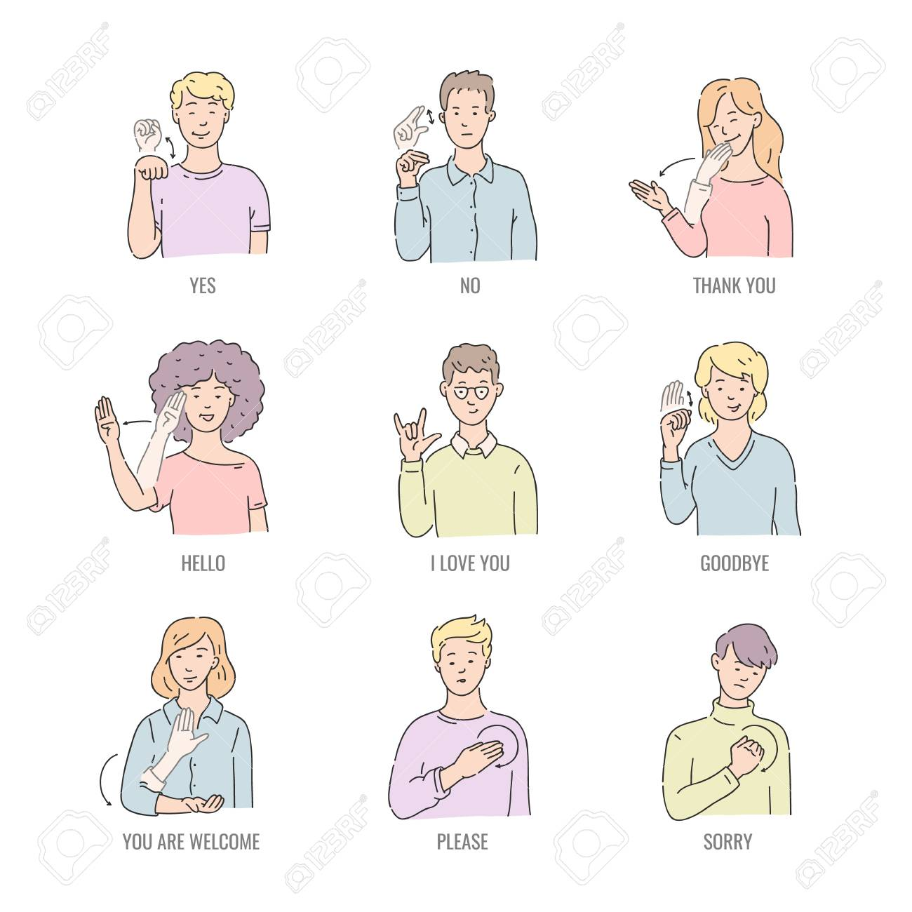 Deaf english basic words in line art isolated on white background - vector illustration set of people using gesture in american sign language. Educational collection of fingerspelling. - 126714111