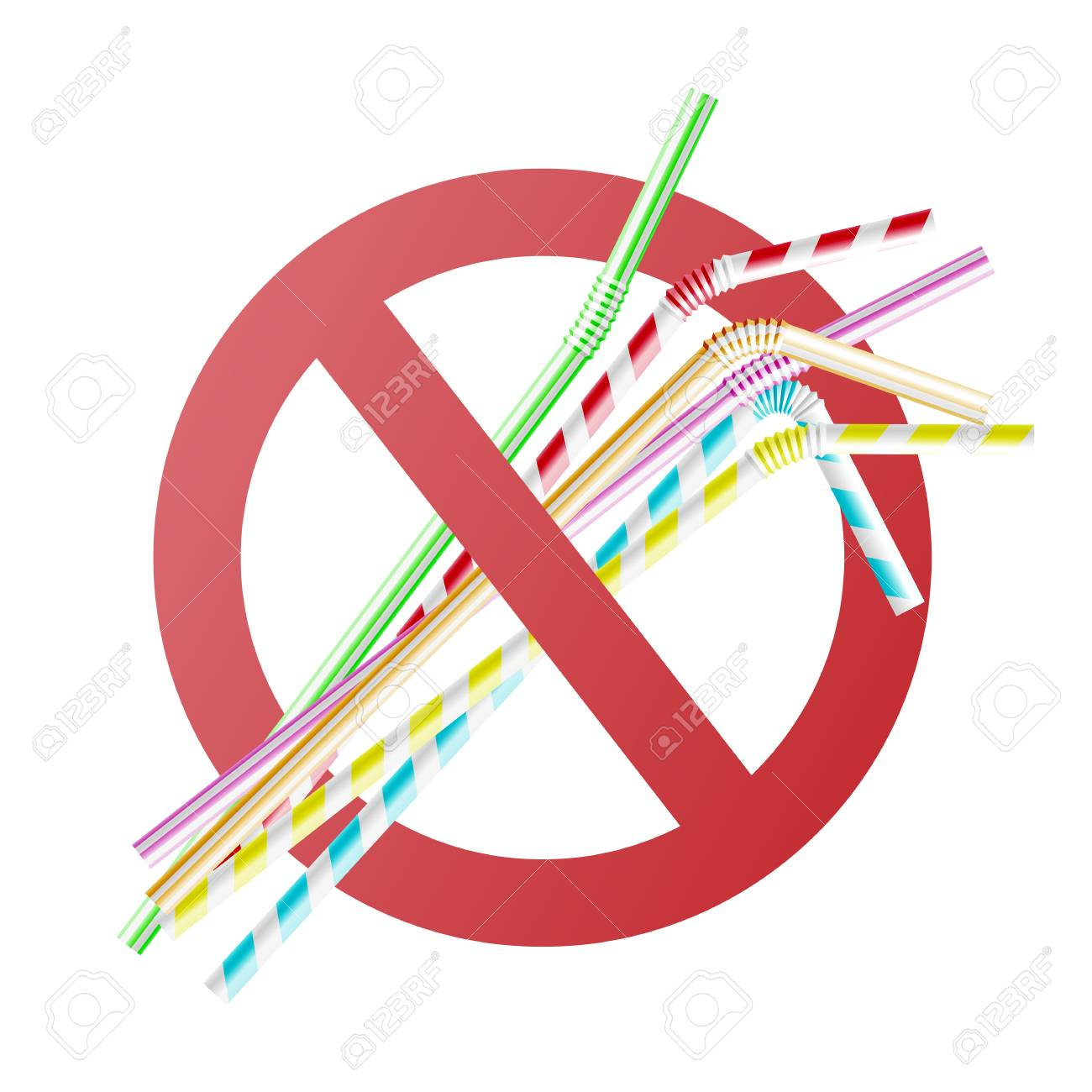 Vector no to plastic straws concept with colorful cocktail straws in red crossed circle. Environment pollustion prohibition, forbidden of disposable garbage cant be recycled. - 114033197