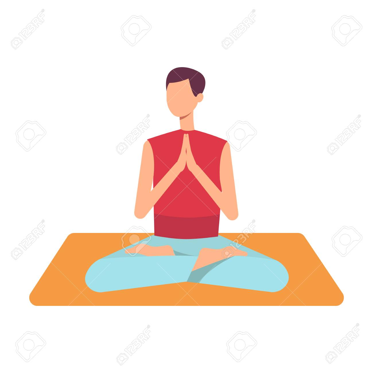 Vector Man In Casual Outfit Sitting In Lotus Posture Practicing