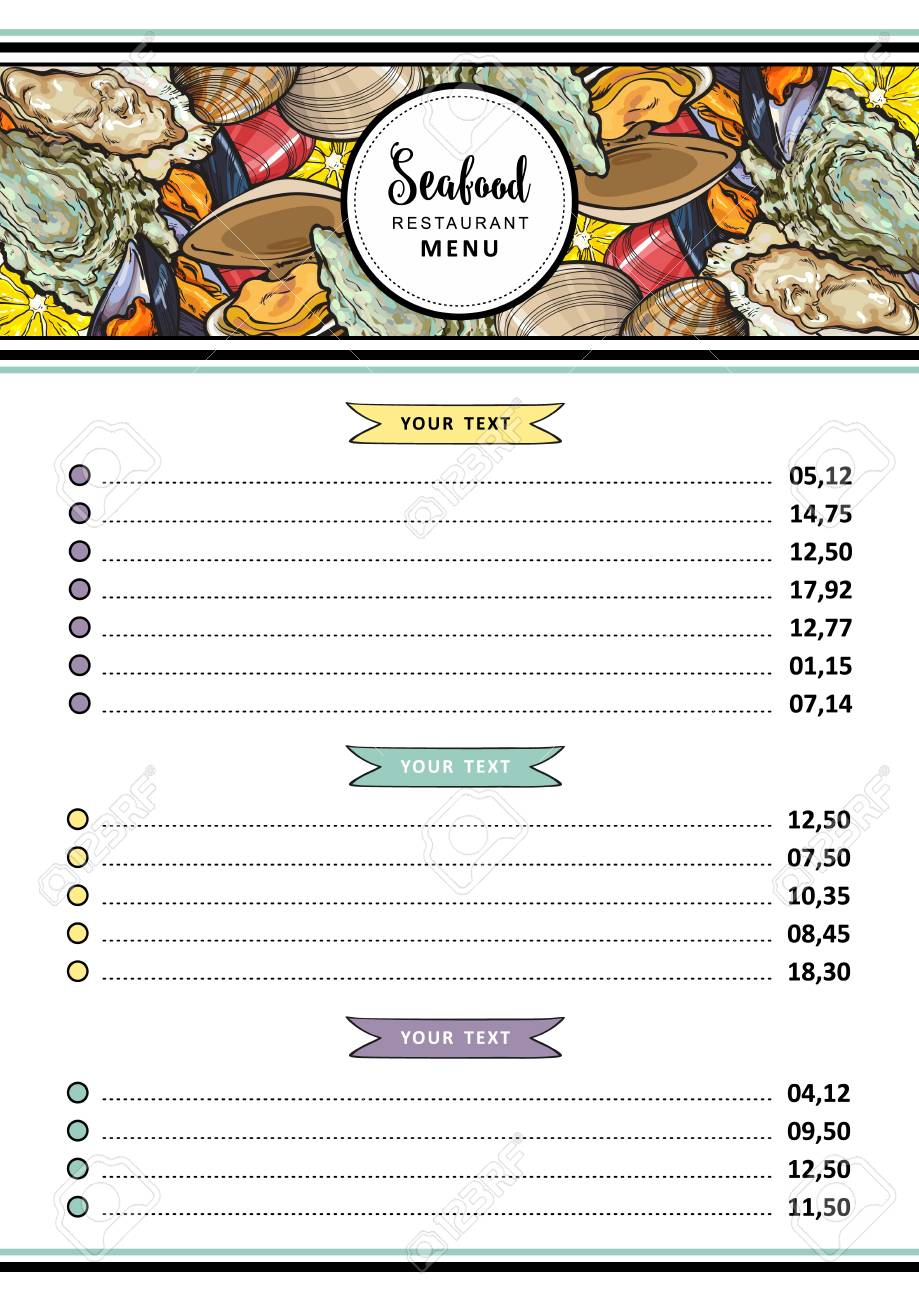 Vector Seafood Restaurant Menu Design Template Cafe Logo And Royalty Free Cliparts Vectors And Stock Illustration Image 114108652