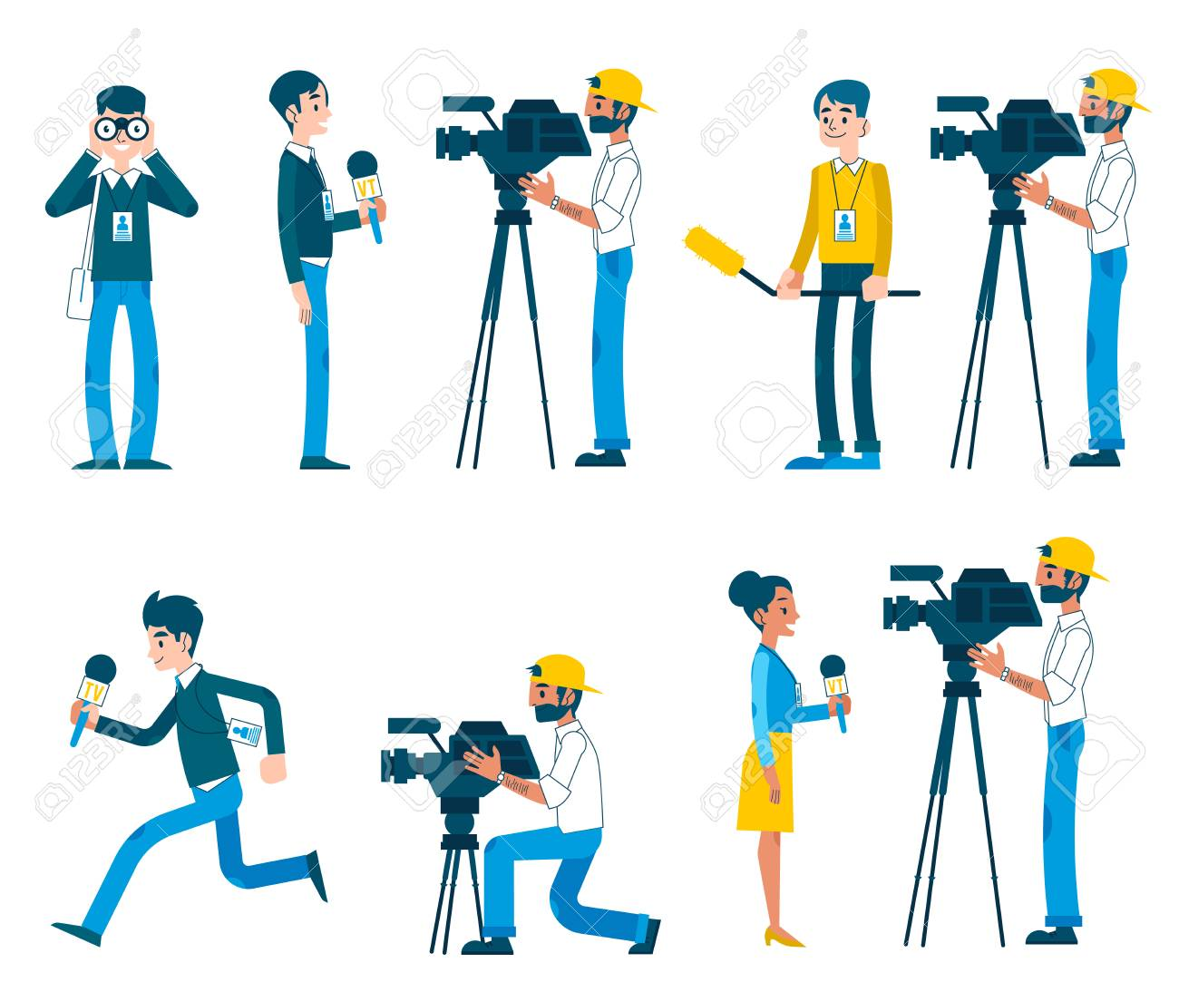 Vector correspondence, reporting live, video interview and journalism concept characters set. Men, women providing reportage for tv, news broadcasting. - 126556052
