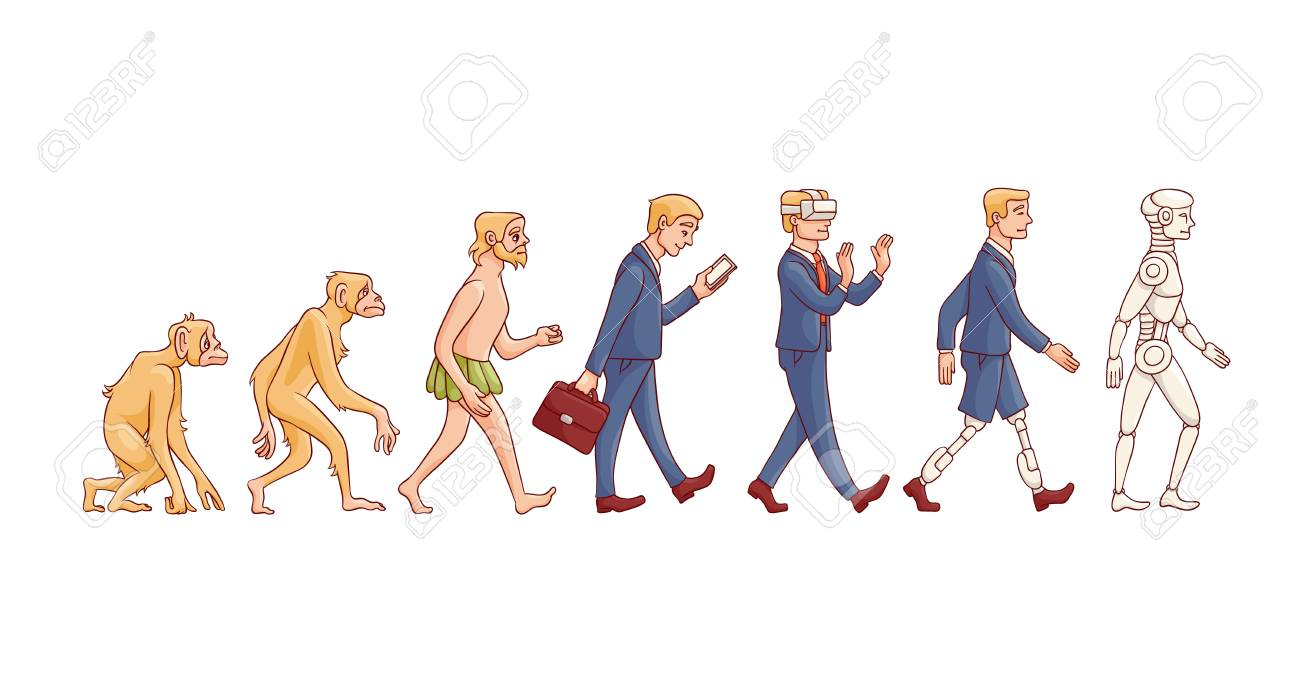 Vector evolution concept with ape to cyborg and robots growth process with monkey, caveman to businessman in suit, artificial legs person and robotic creature. Mankind development - 114460801