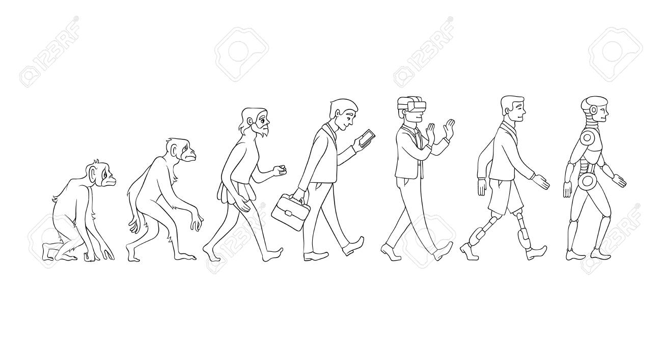 Vector evolution concept with monochrome ape to cyborg and robots growth process with monkey, caveman to businessman in suit, artificial legs person and robotic creature. Mankind development - 114460851