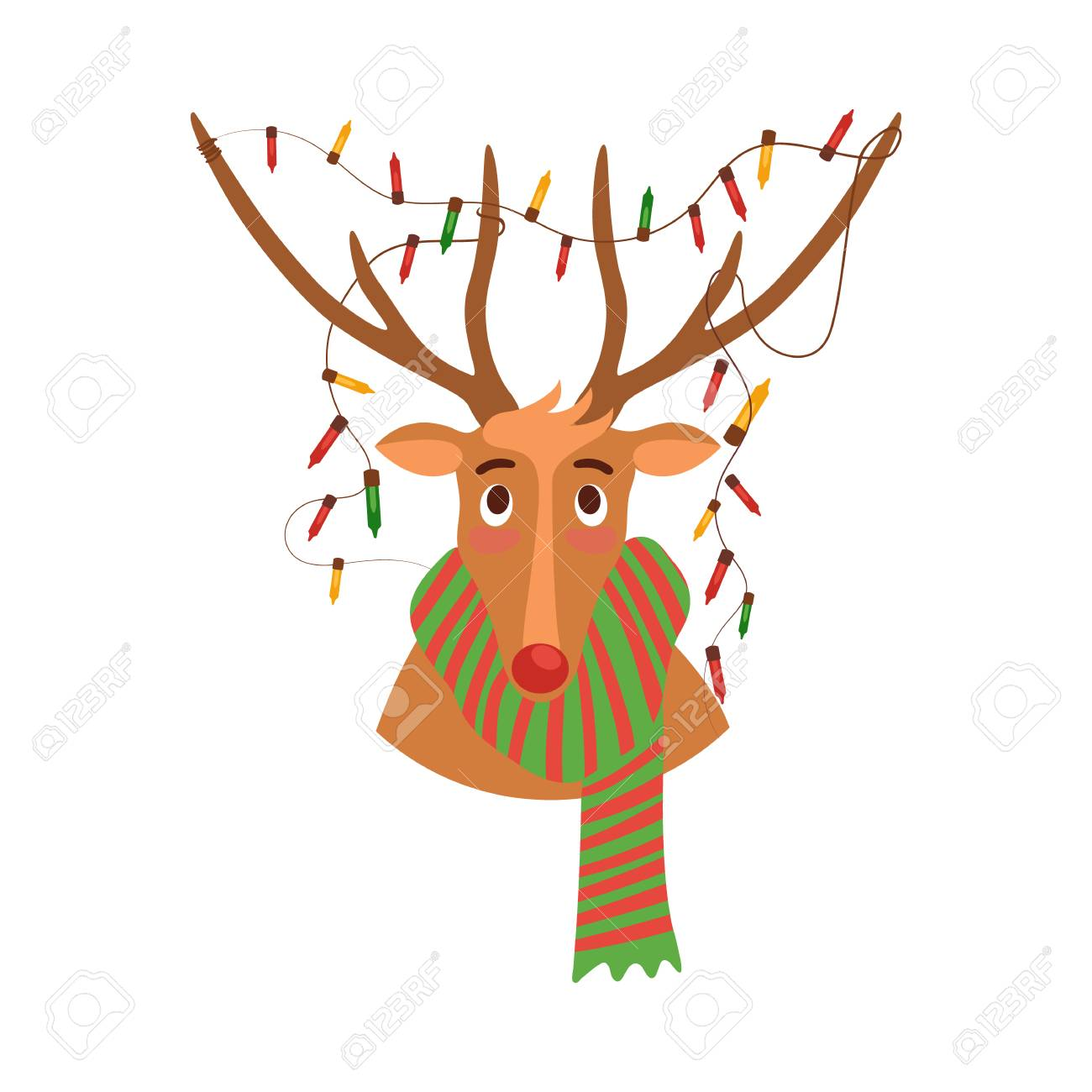 Vector Cute Christmas Reindeer Portrait In Scarf And Garland