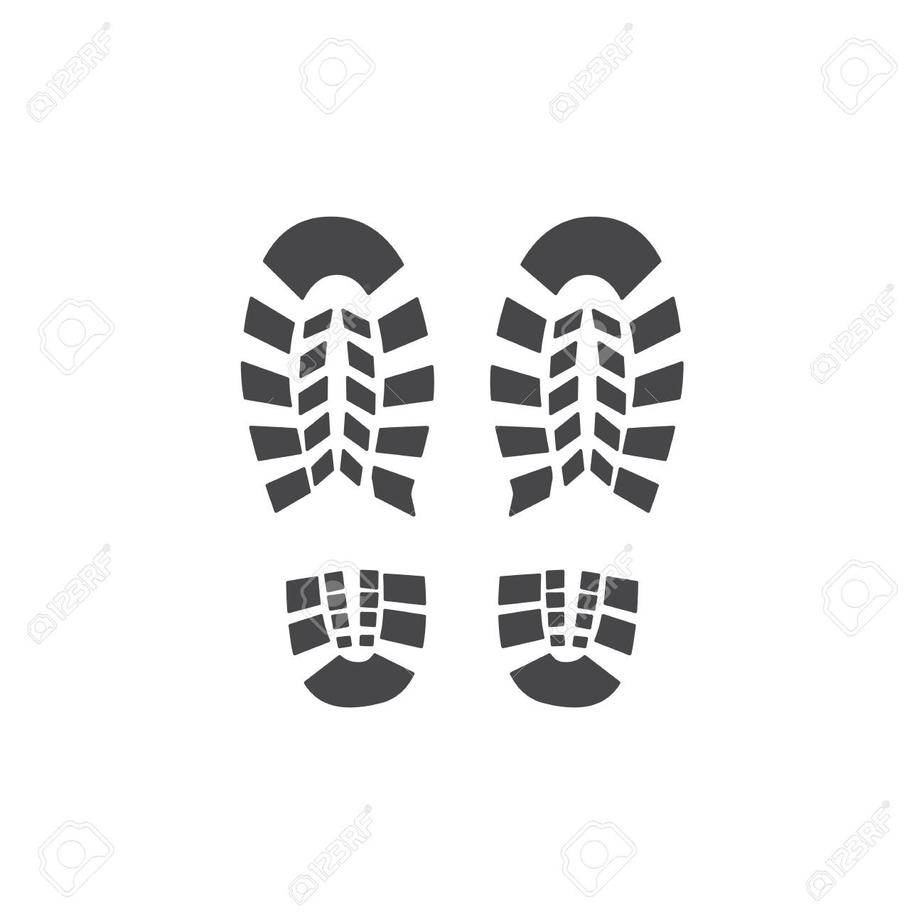 Vector abstract human boot, or sneakers shoe footprint icon. Black silhoette of footwear footmarks. Hiking equipment or army outdoor footwear. Isolated illustration - 126319422
