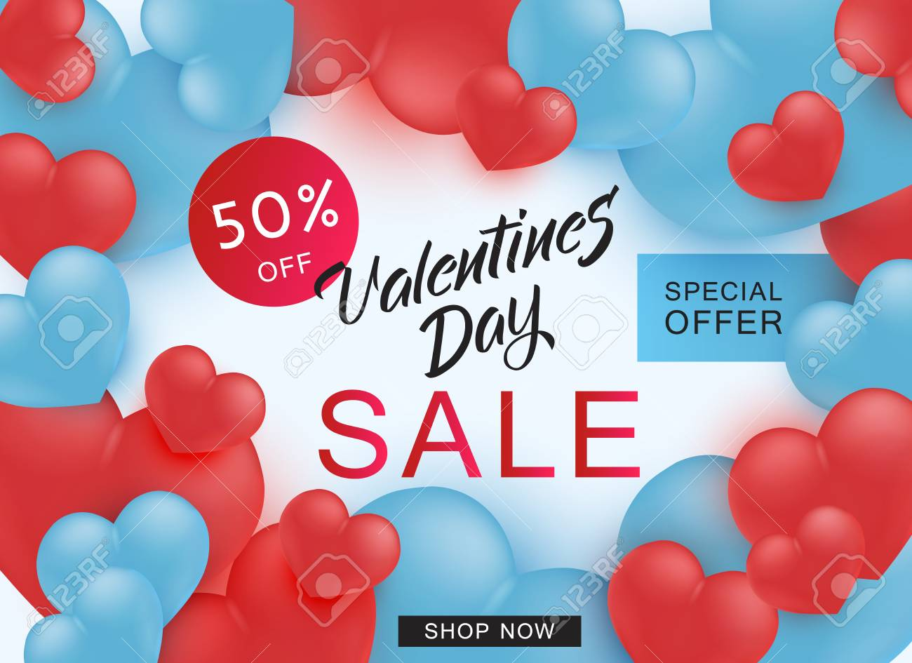 Valentines Day sale and special offer banner with sign surrounded by realistic 3d hearts on white background - vector illustration of 14 February holiday discounts promotion. - 125944123