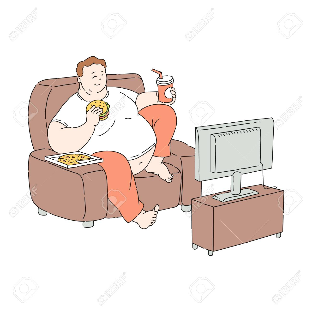 Vector overweight obese unhappy man sitting at sofa watching TV eating fastfood. Fat male character with obesity. Excessive weight man. Health problems connected with unhealthy food and diet - 125412008