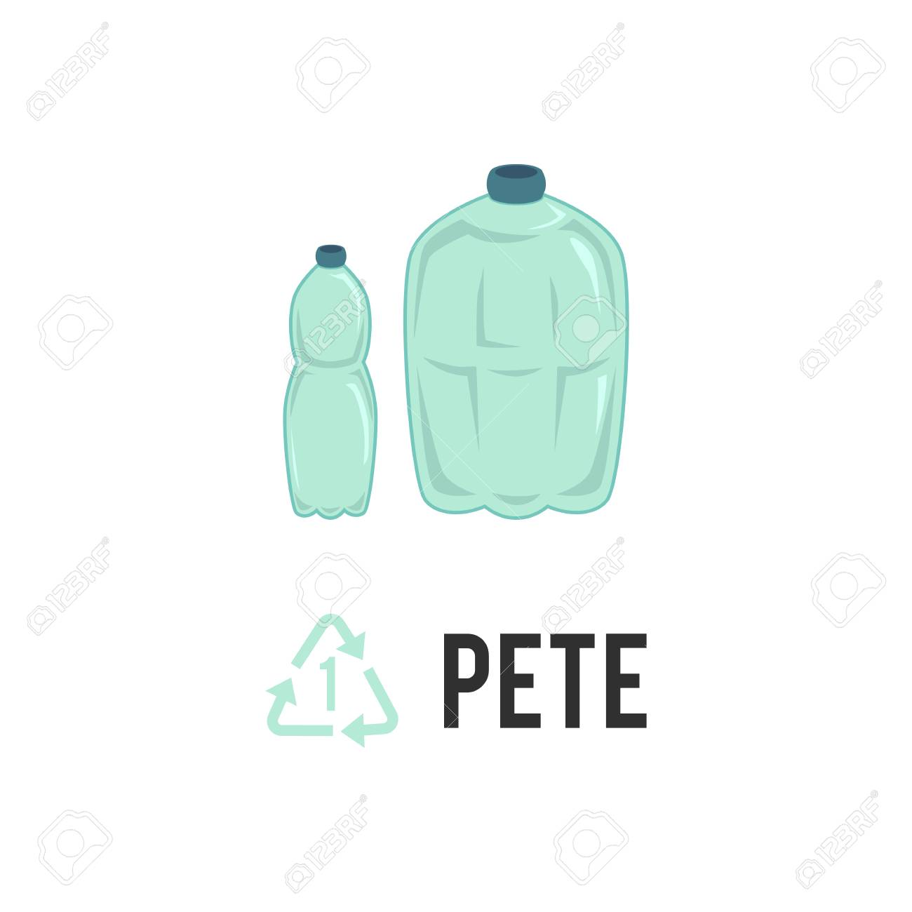 Plastic recycling icon, symbol and sign PETE, PET  Types of plastic