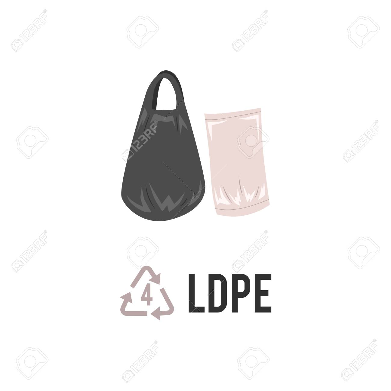 Plastic recycling icon, symbol and sign PELD, LDPE  Types of