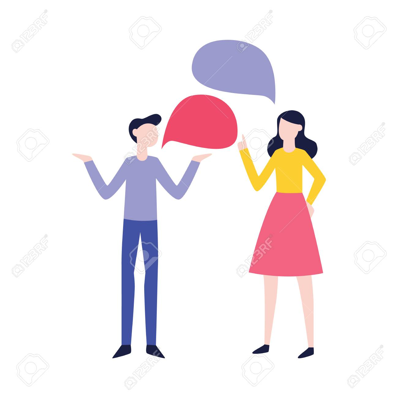 Vector flat man and woman negotiating with empty speech bubble. Male, female office workers, colleagues, friends or relatives arguing, communicating. Quarrel and fight between family couple - 124654853
