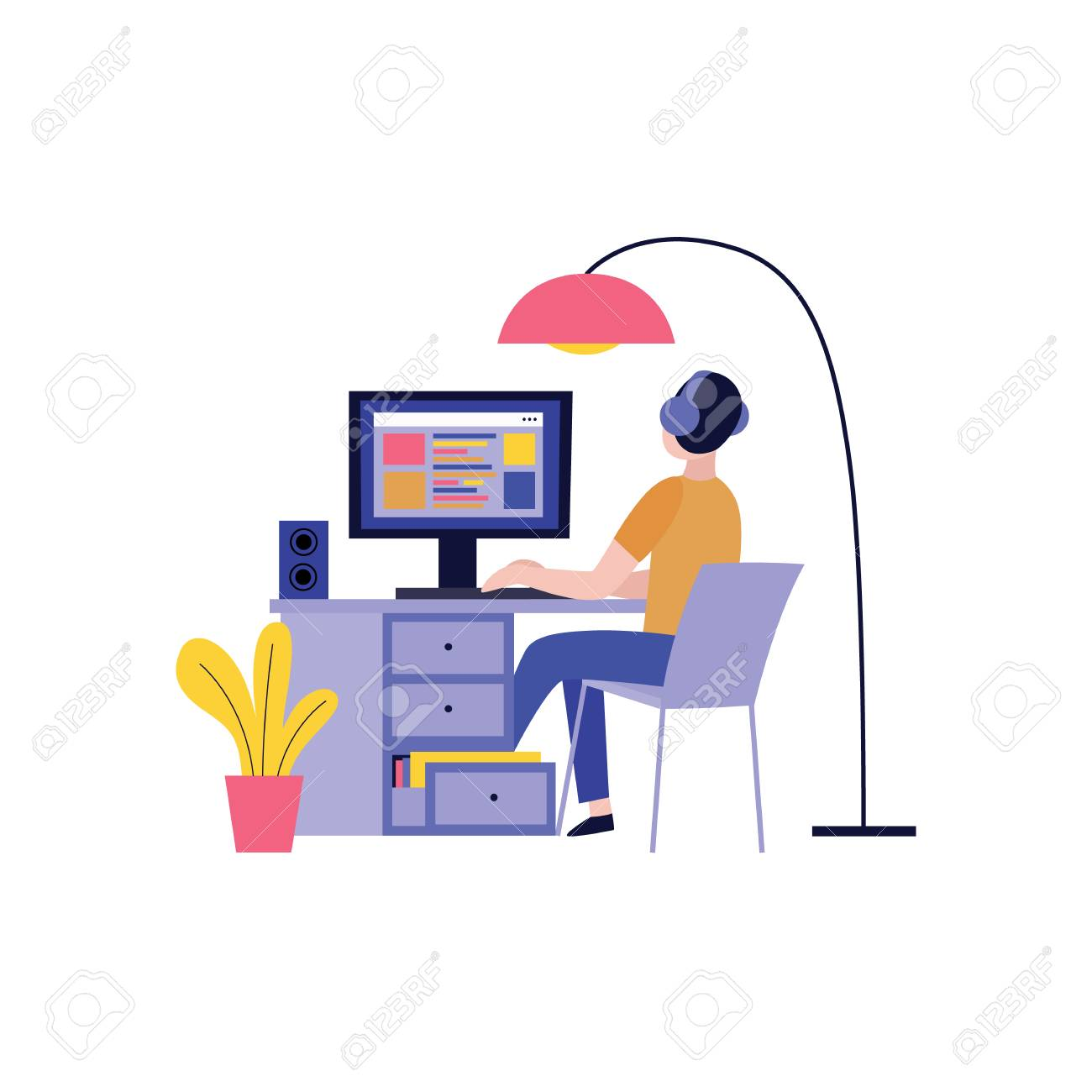 Back view of man in headphones working with computer and creating website in flat style isolated on white background - vector illustration of blogger, writer or freelancer concept design. - 124654920