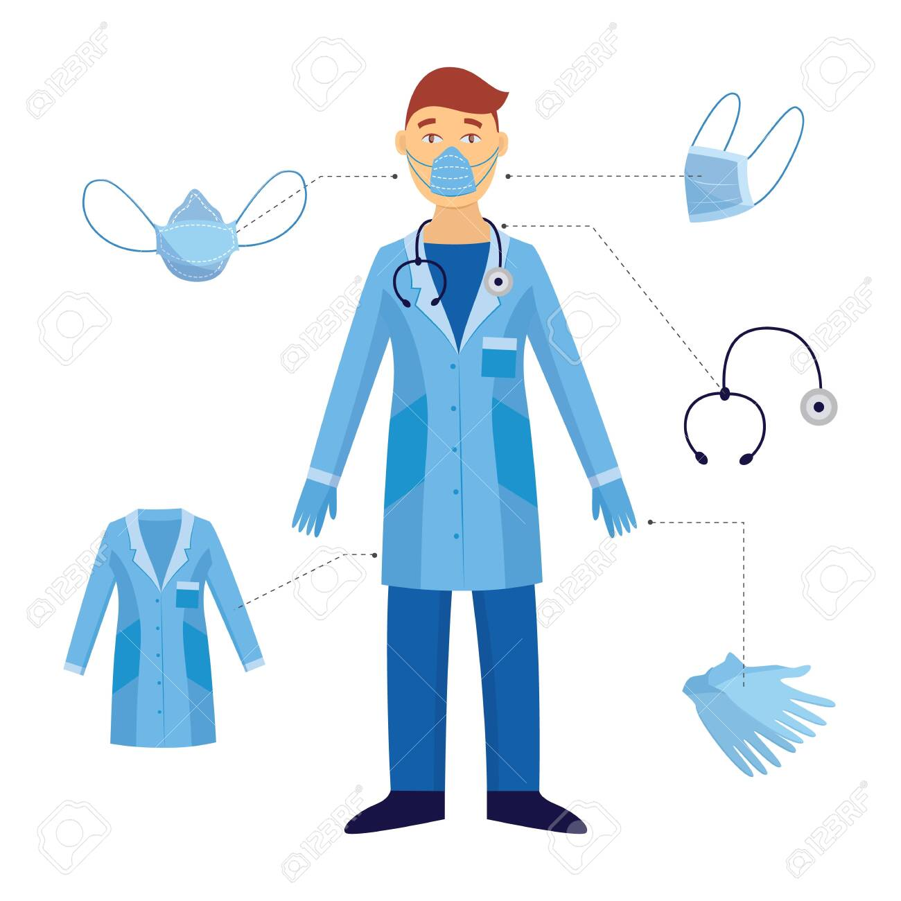 A man and a doctor and his medical safety equipment. Industrial safety and protection with a mask and stethoscope, gloves in a blue doctor form against biological hazards. Vector flat illustration. - 124419713