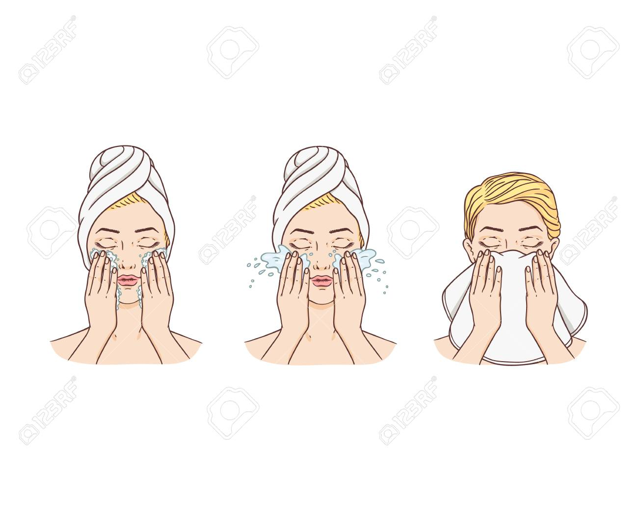 Vector young woman with hairs wrapped in towel removing make-up washing face and cleaning it with towel. Face skincare treatment, cosmetic cleaning spa products packaging design. Isolated illustration - 118827084