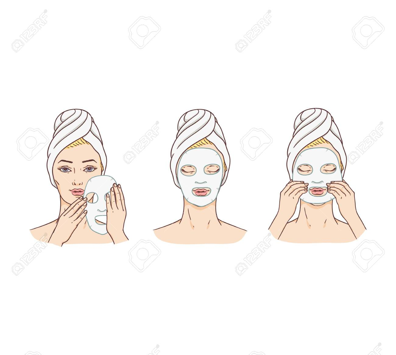 Vector woman applying facial mask stages set. Face skin treatment and therapy concept. Young woman with towel and spa salon. Cosmetic skincare product packaging design. - 124419743