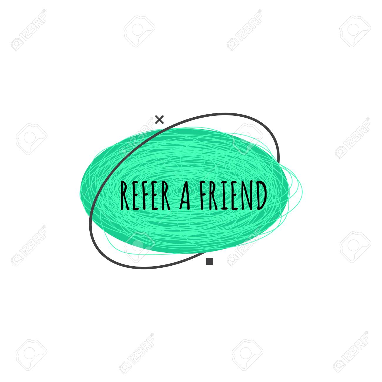 Refer a friend trendy geometric badge in flat or sketch style, vector illustration isolated on white background. Green advertisement sign of referral program from ellipse shapes - 123465950