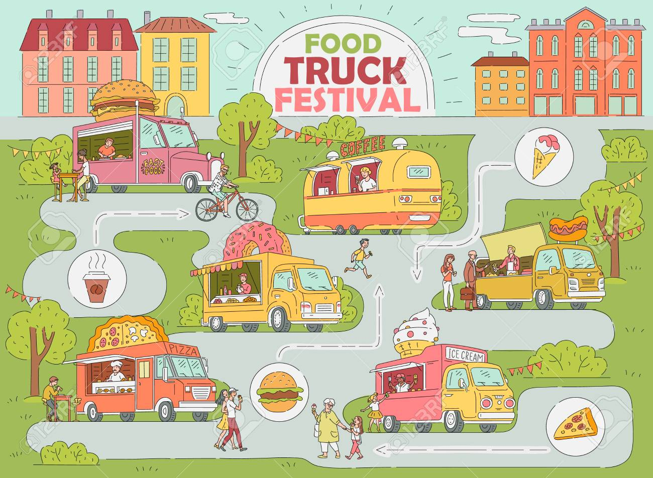 Food truck festival city map - fast food market with ice cream truck, donut and coffee shop, pizza van, hot dog stand with customers, hand drawn cartoon style infographic vector illustration - 123465999