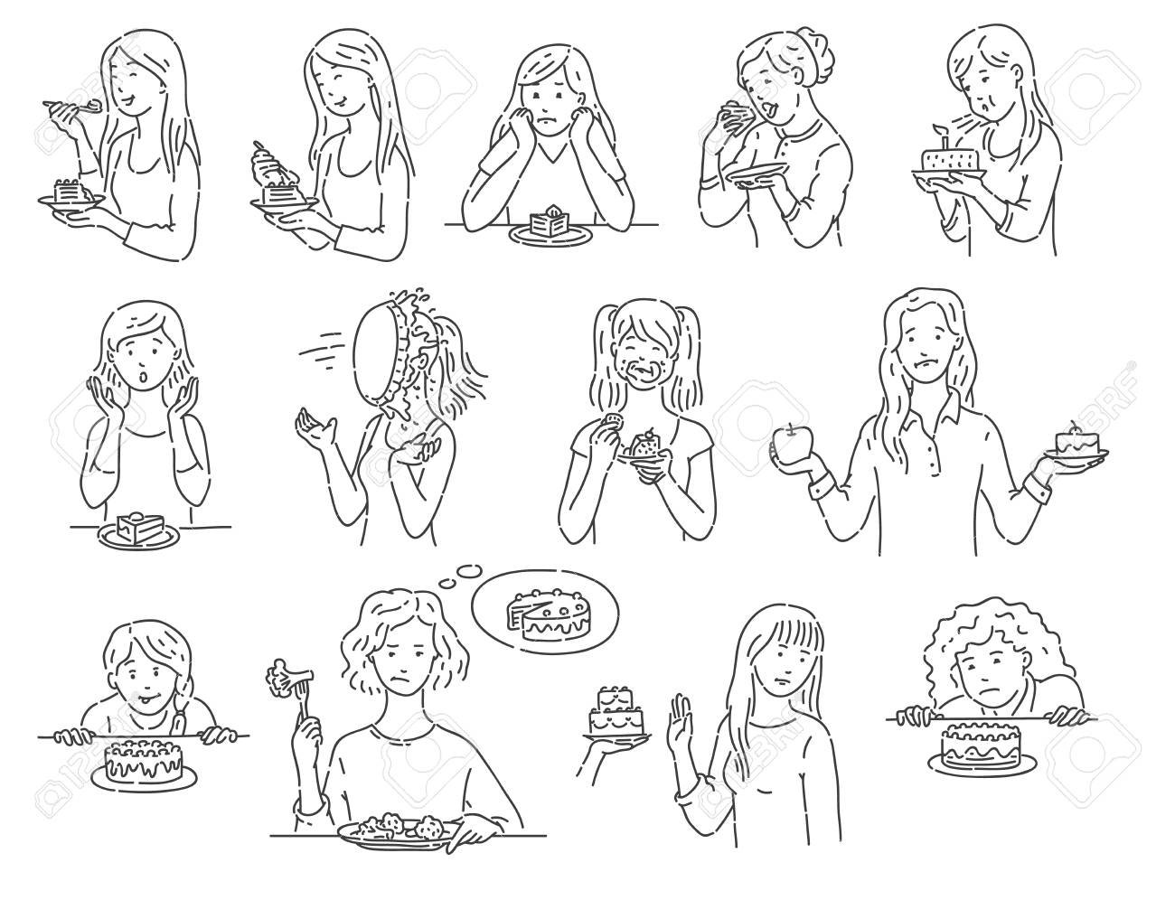 Set of female characters with dessert cake outline sketch style, vector illustration isolated on white background. Women with various emotions eating unhealthy food in different situations - 120920383