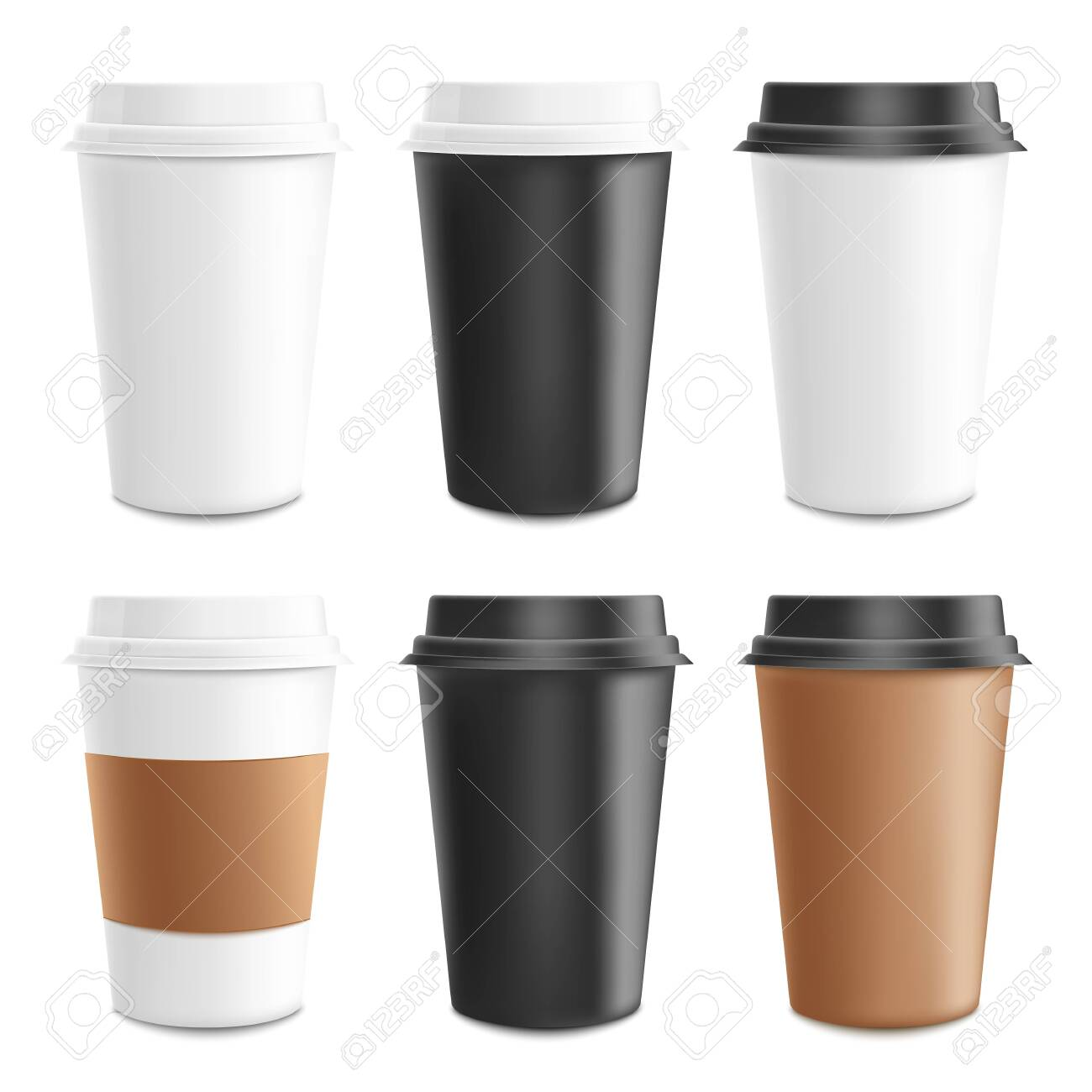 Mockup and template realistic 3d set of paper, cardboard and plastic coffee cup. Disposable plastic and paper coffee cup for hot drinks. Cappuccino, espresso and cafe template, vector illustration. - 120920421
