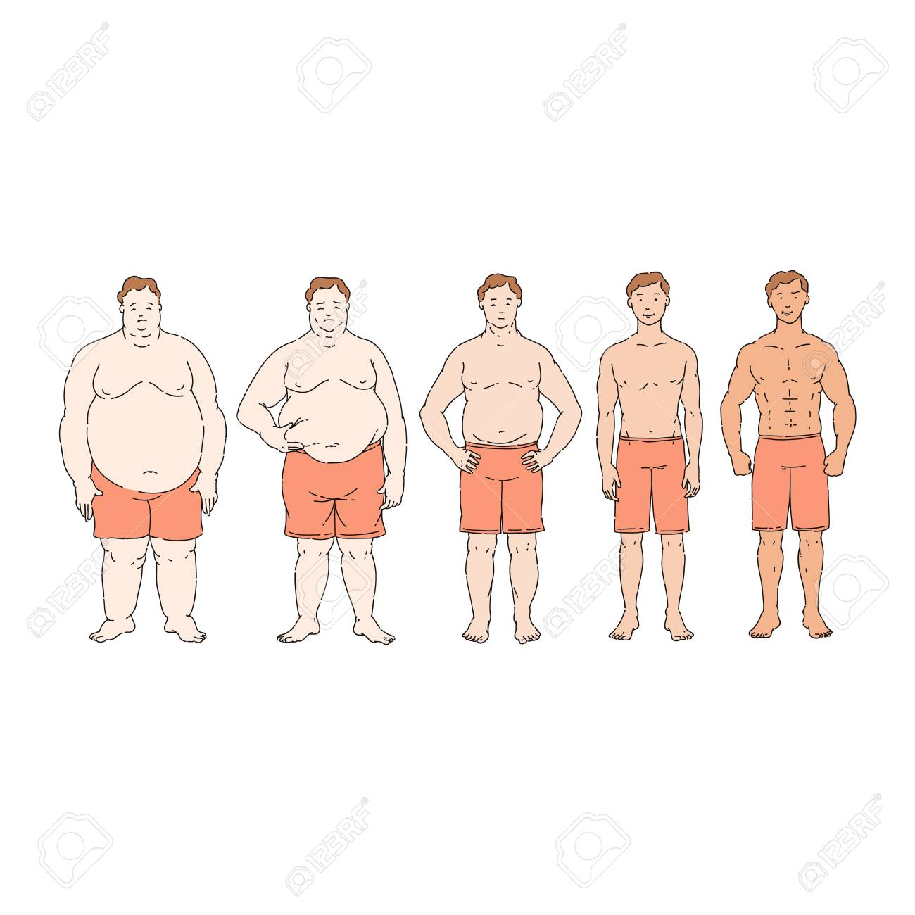 Fat Loss Diet Progress From Overweight To Thin Obese Person Royalty Free Cliparts Vectors And Stock Illustration Image 123466095