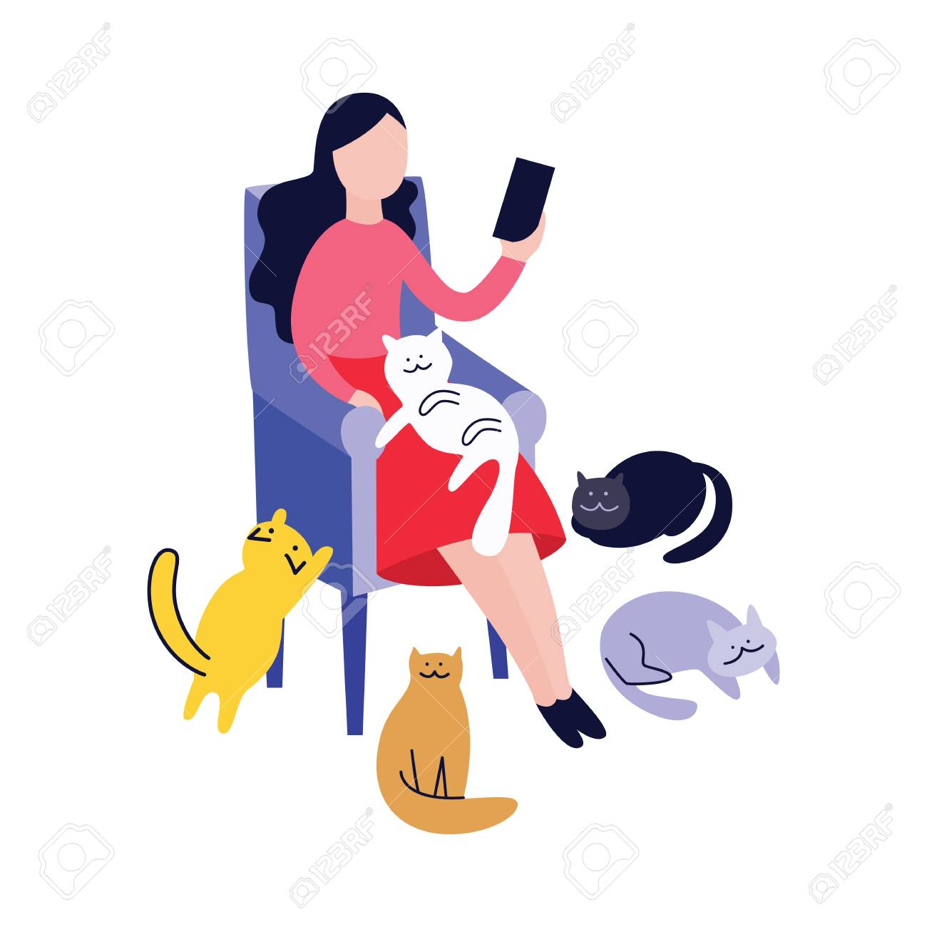 Woman sitting in armchair and reading surrounded by cats flat cartoon style, vector illustration isolated on white background. Pets nearby cat lady relaxing in chair and holding book or gadget - 123466102