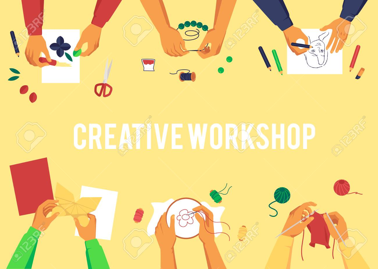 Banner with top view of various hands creating handmade works cartoon style, vector illustration on yellow background with text. Creative workshop themed poster design - 122414875
