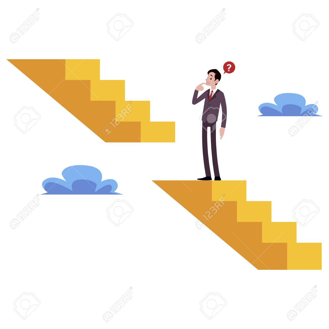 Businessman stands on broken stairs thinking how get next level cartoon style, vector illustration isolated on white background. Male climbing the career staircase, business challenge concept - 122414889