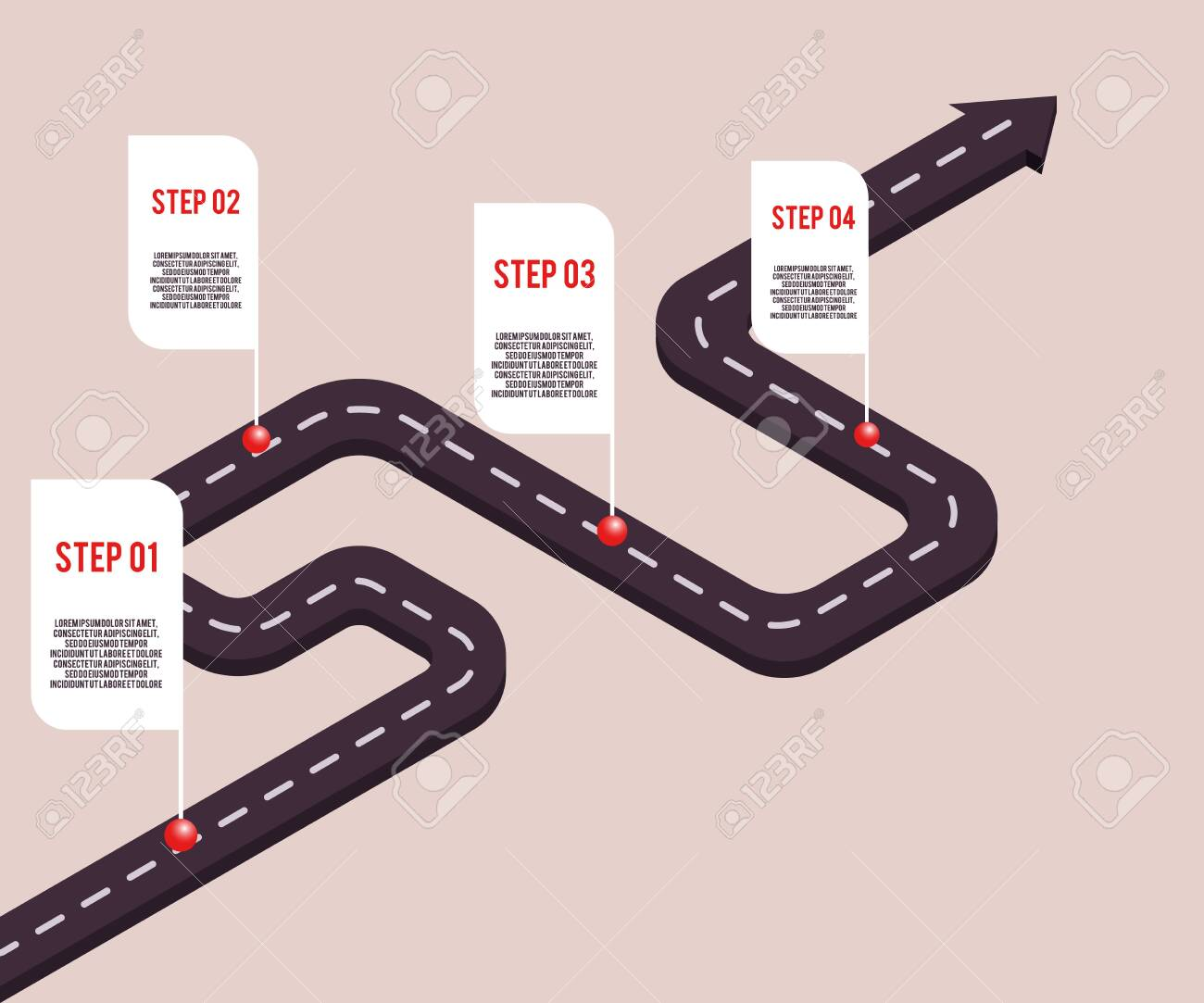 Vector business milestones concept with points and steps with space text on road route. Company timeline, presentation infographic template. Corporate strategy, process workflow. - 122414895