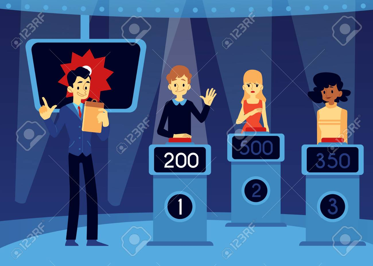 Vector erudite TV quiz show concept with show host, emcee near man, women taking part in game standing at podium with points at screen raising hand up , pushing red button in order to answer. - 122414897