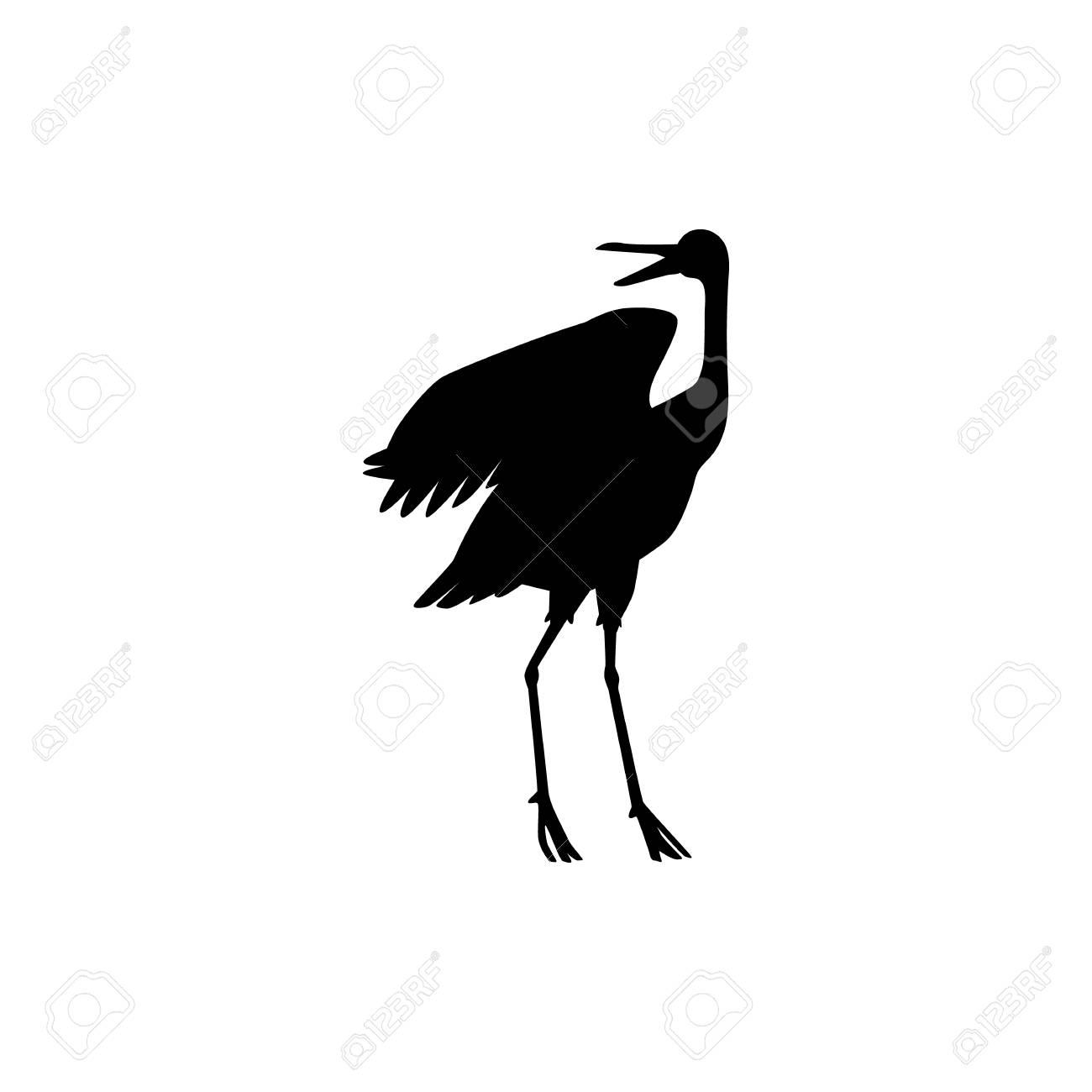 Vector hand drawn crane bird black silhouette icon  Sketch flying