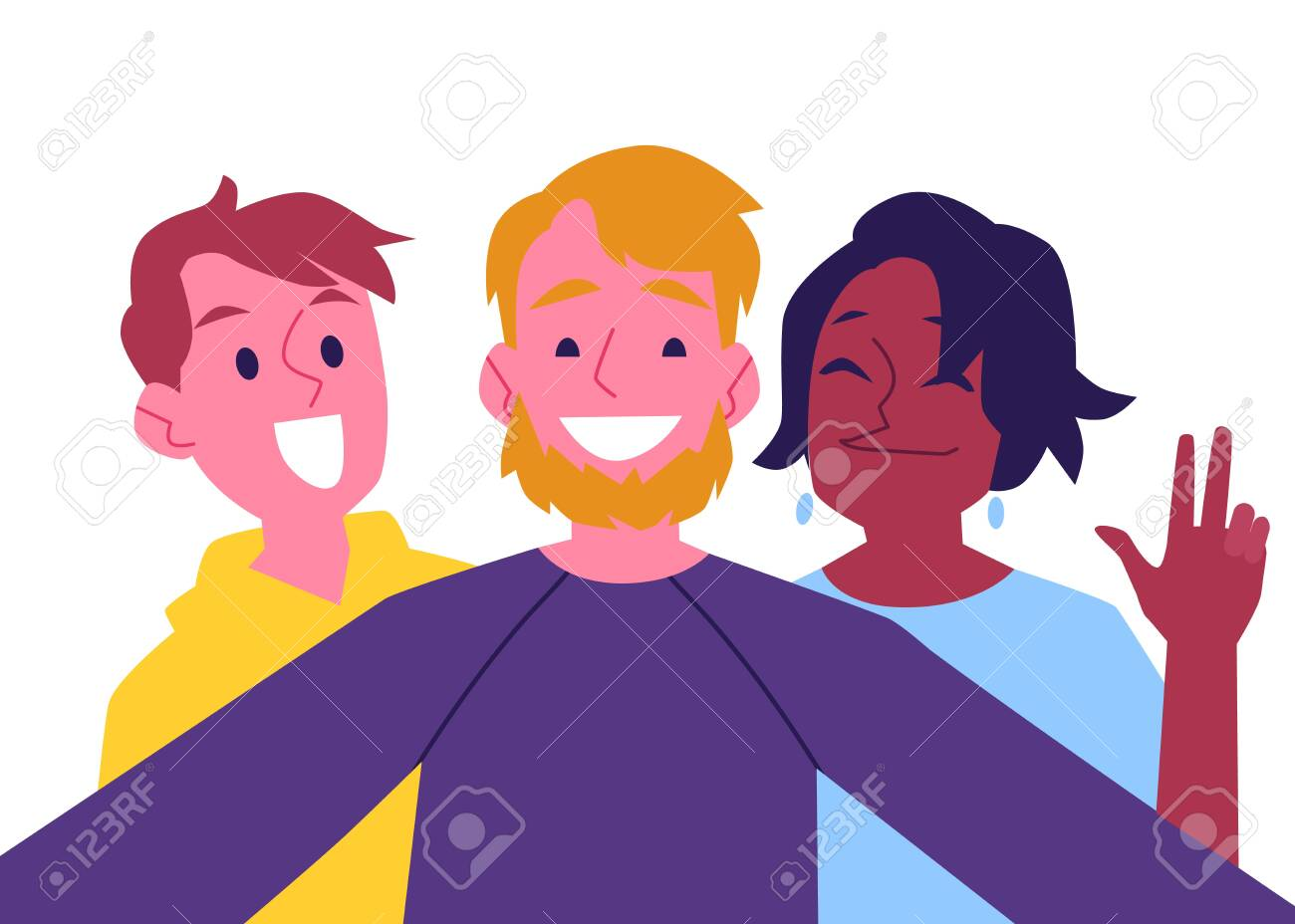 Vector cheerful friends making self-portrait using camera. Happy men and african black woman having fun together making photography with smile. Isolated illustration - 122455439