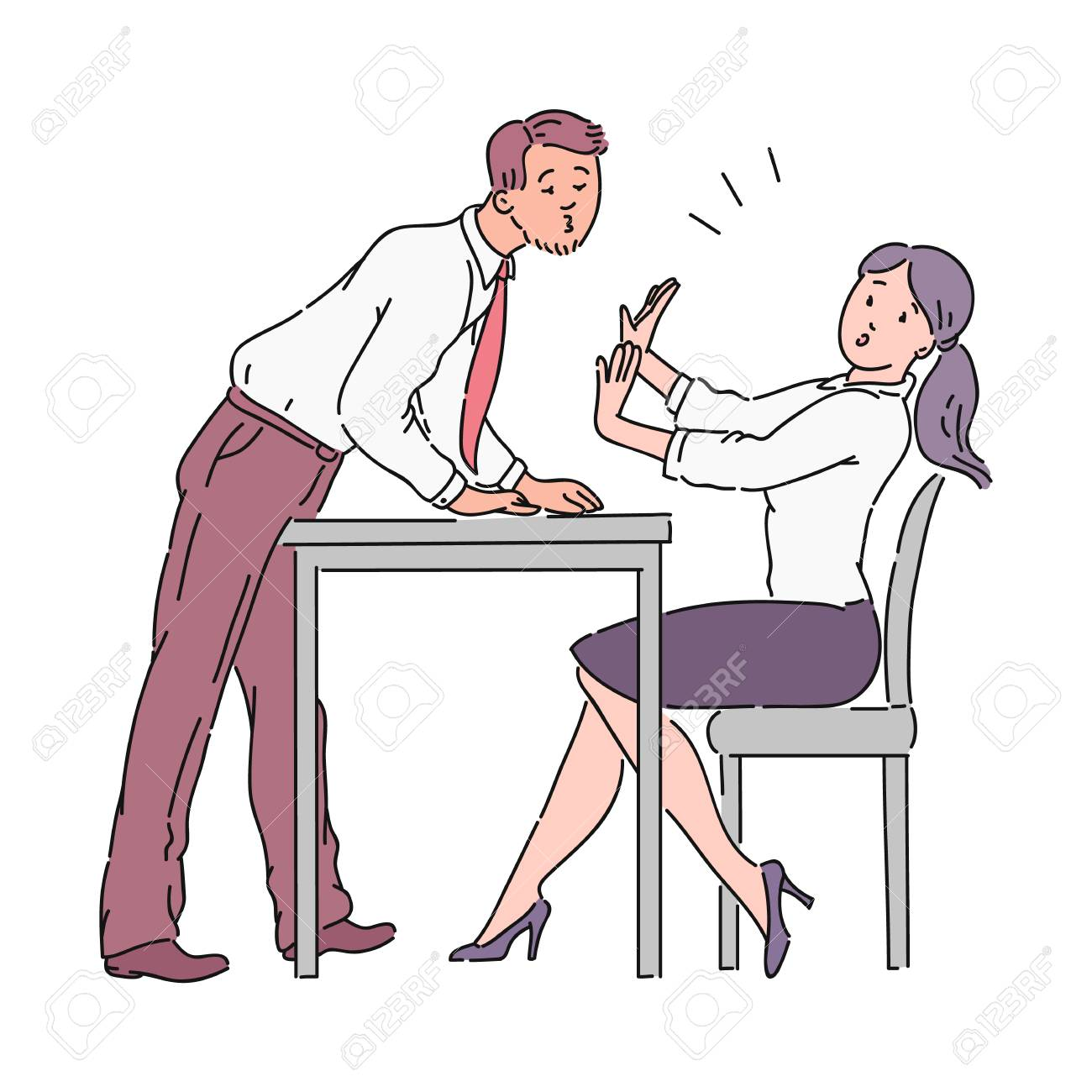 The man is trying to kiss the girl across the office table, harassment at work. Harassment of a boss or colleague in the workplace in the office. Violence vector cartoon illustration. - 122280321