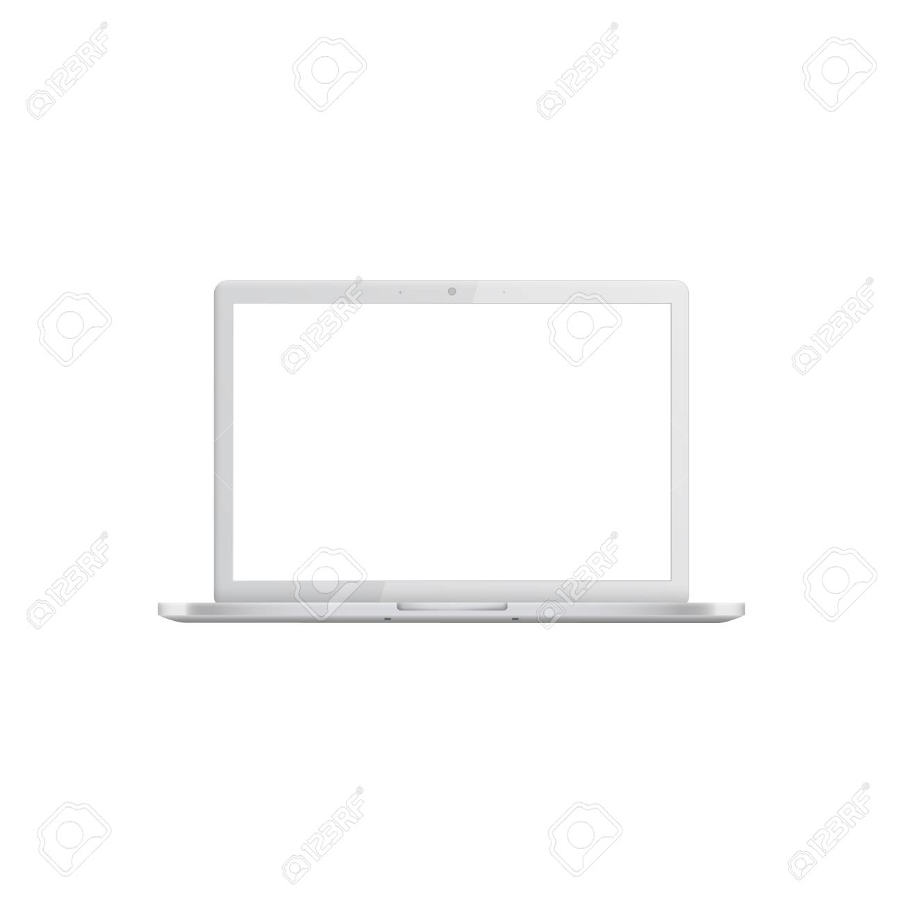 White laptop with blank screen, realistic mockup of open silver modern portable computer, empty template of mobile digital equipment. Vector illustration isolated on white background - 122280787