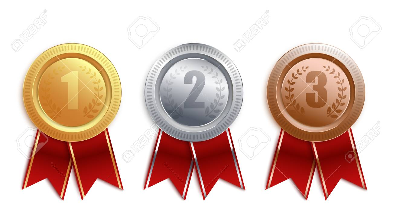 Set of gold, silver, bronze badges with red ribbon. Competition winner award collection for first, second and third place, medal coin 3d design isolated on white background, vector illustration. - 122416929