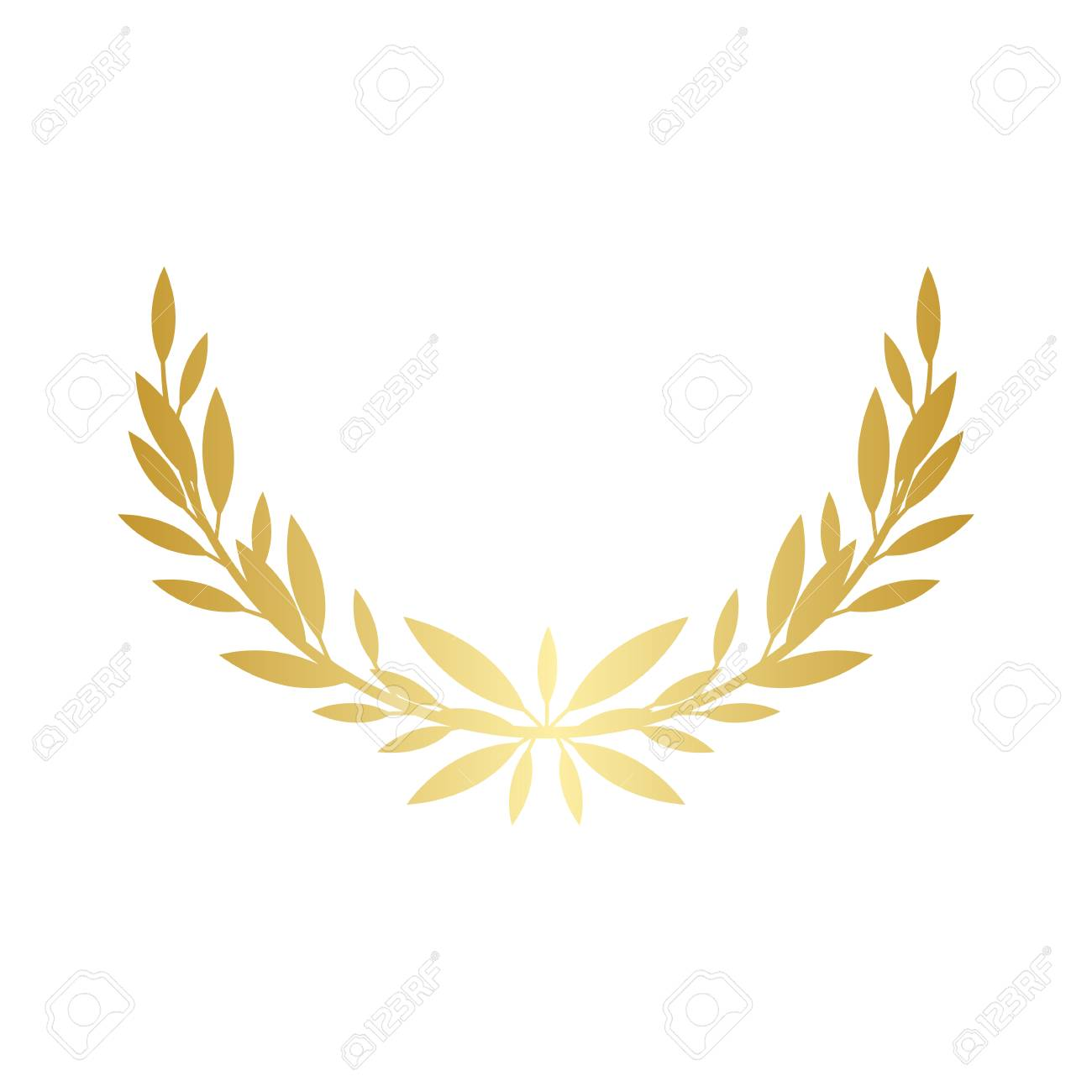 Greek laurel or olive wreath semicircle for the winners and champions award ceremony vector illustration isolated on white background. element. Leaves golden frame icon. - 122281142