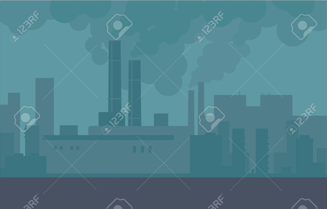 Air pollution in the city pipes of plants and factories. Building smoke, polluted urban air, toxic environment. Vector city illustration. - 122417037