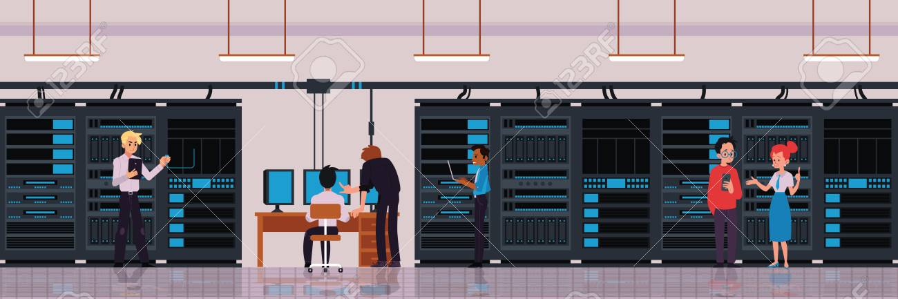 Data center or server room concept with characters of technology engineers or IT workers banner with cloud storage and data exchange server flat vector illustration. - 128169802