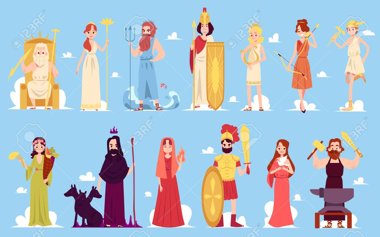 Greek goddess characters of ancient Hellenic and Roman legends and mythology set of flat vector icon illustrations on a blue background. Male and female mountain gods. - 122852320