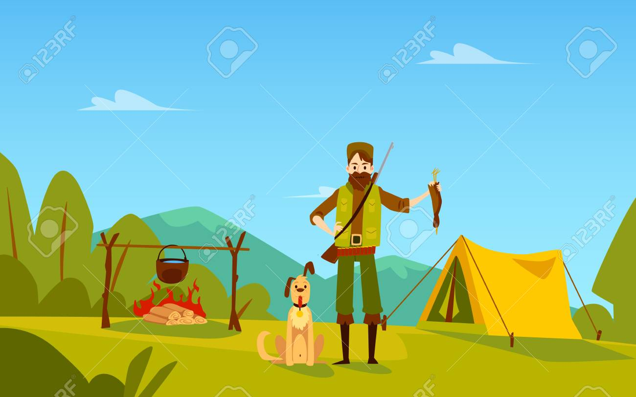 Male hunter with dog stands near campfire and tent holding bird cartoon style, vector illustration isolated on nature landscape background. Man with duck trophy standing outdoors - 128169854