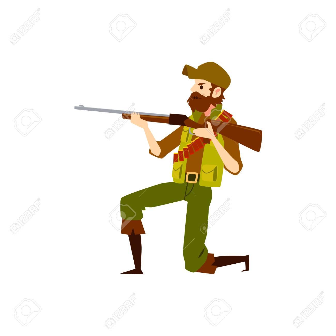 Hunter Man With Rifle Gun Aiming To Shoot Male Cartoon Character