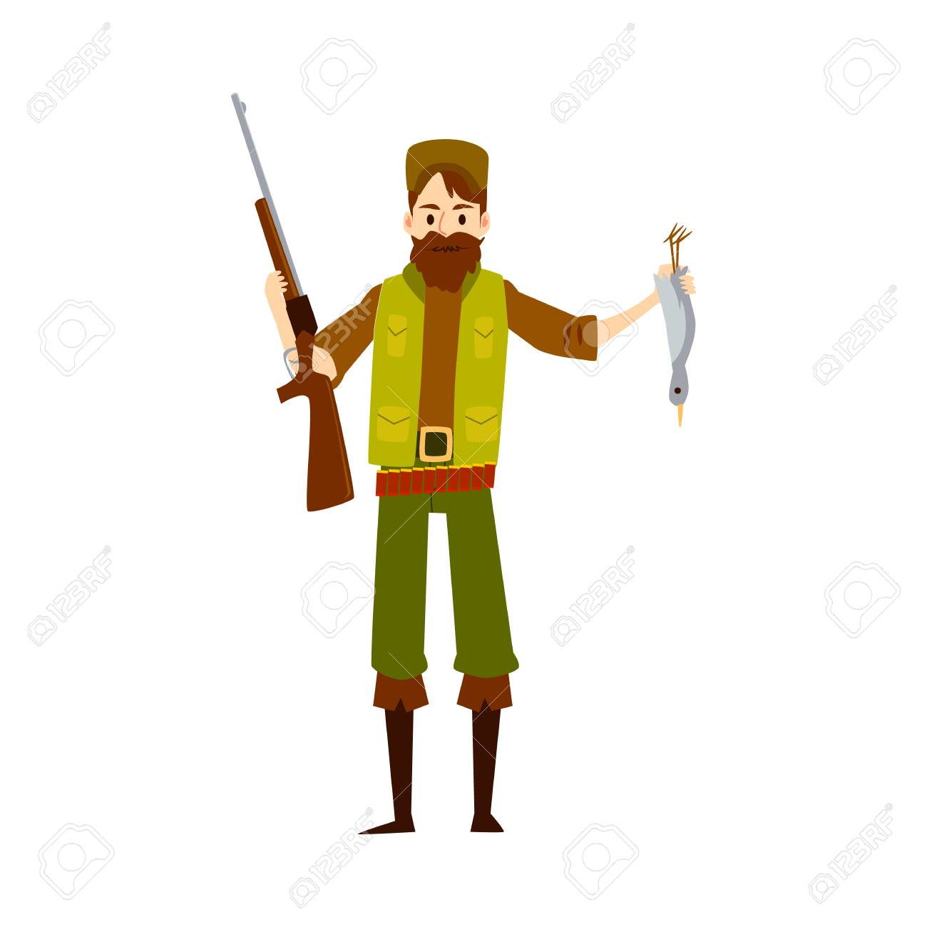 Hunter man with rifle gun and dead duck, happy cartoon character huntsman holding his shotgun weapon and bird, proud of bounty kill, isolated vector illustration on white background. - 122853999