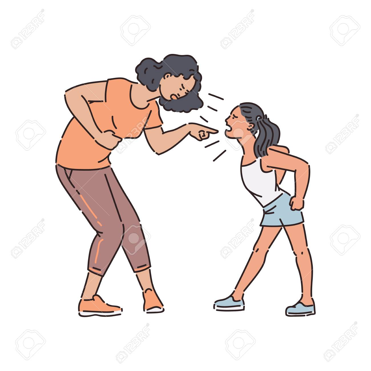 Adult woman and young teen girl stand arguing and shouting sketch style, vector illustration isolated on white background. Mother holding by stomach and scolding aggressive yelling daughter - 128169994