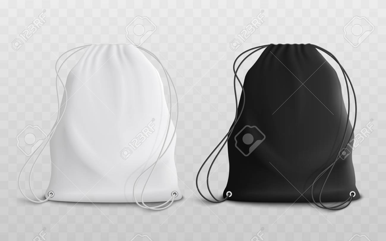Set of blank drawstring bags for sport or school cloth and shoes mockup 3d realistic vector illustration. Pouch or textile pack in black and white set of two template. - 122854159