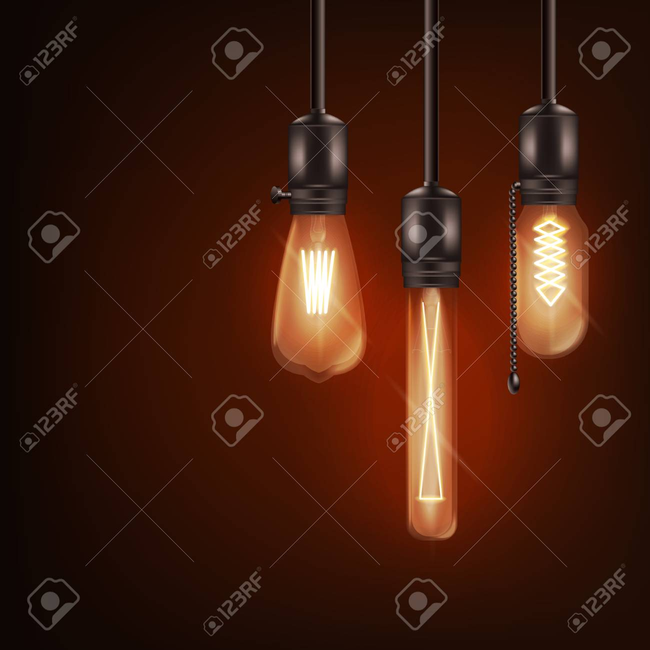 Set of 3d different shaped glowing light bulbs hanging on wires realistic style, vector illustration isolated on dark background. Retro incandescent Edison lamps design for loft or vintage interior - 128170153