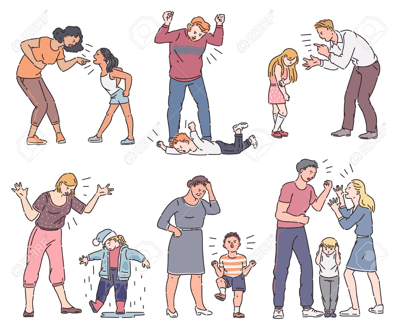 Set of angry parent with emotional child, father and mother screaming at son or daughter, collection of different types of conflict. Isolated vector illustration in cartoon sketch style. - 128170275