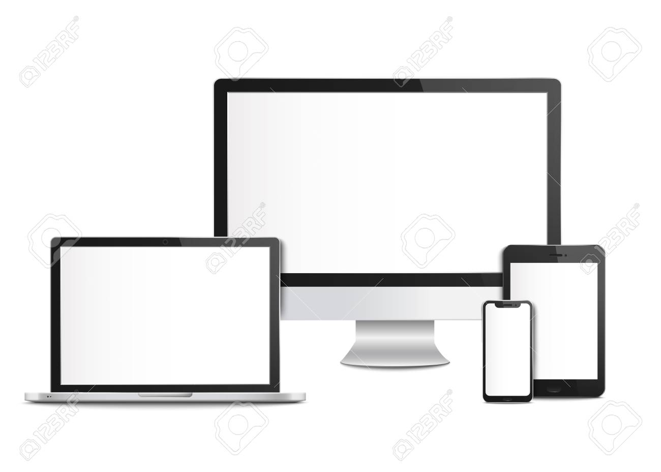 Realistic blank computer devices with screens, templates and mockups of mobile phone and tablet, desktop monitor and laptop. Computer devices and smartphone, 3d gadget, vector illustration. - 124787722